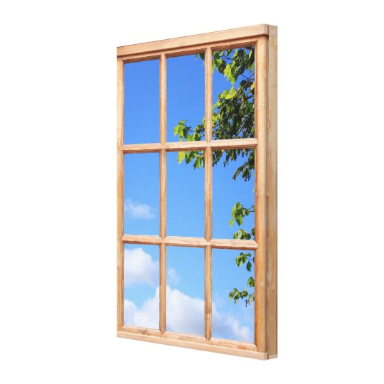 Blue Sky and Leaves 3D Effect Window View