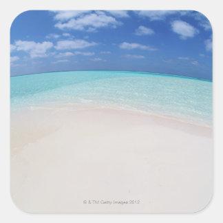 Blue sky and sea 10 square sticker