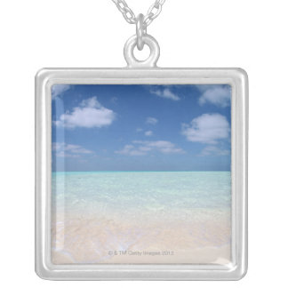 Blue sky and sea 11 silver plated necklace