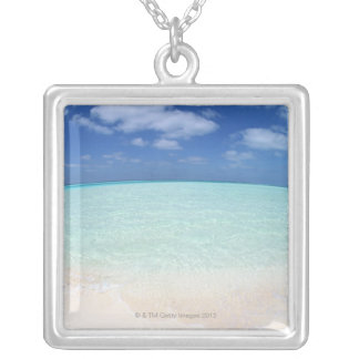 Blue sky and sea 12 silver plated necklace
