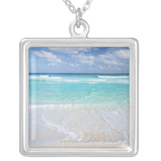 Blue sky and sea 13 silver plated necklace