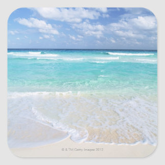 Blue sky and sea 13 square sticker