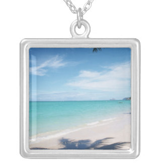 Blue sky and sea 15 silver plated necklace