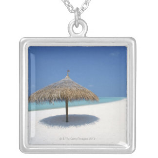 Blue sky and sea 16 silver plated necklace
