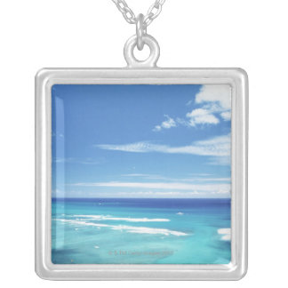 Blue sky and sea 17 silver plated necklace