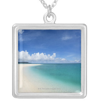 Blue sky and sea 7 silver plated necklace