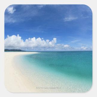 Blue sky and sea 7 square sticker