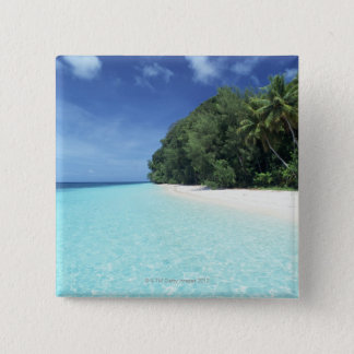 Blue sky and sea 8 15 cm square badge