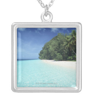 Blue sky and sea 8 silver plated necklace