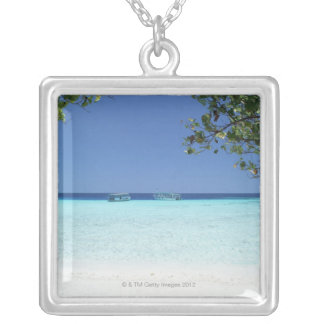 Blue sky and sea 9 silver plated necklace