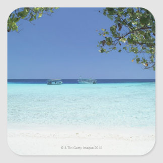 Blue sky and sea 9 square sticker