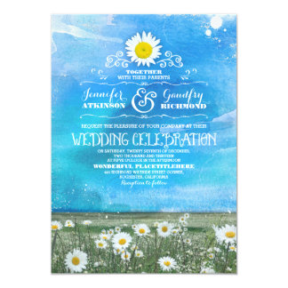 blue sky and summer meadow daisies wedding invite