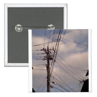 Blue sky and utility pole 15 cm square badge