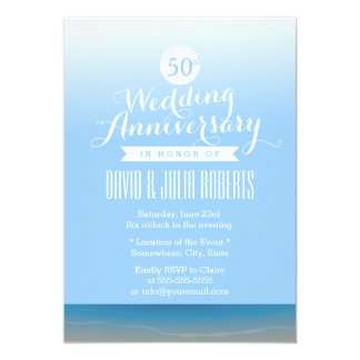 Blue Sky Beach Breeze Wedding Anniversary Personalized Invitations