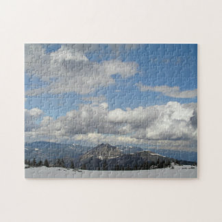 Blue sky behind clouds jigsaw puzzle