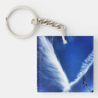 Blue sky cloud design key ring