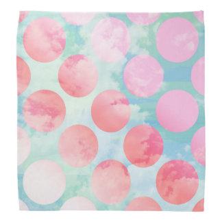 Blue Sky Clouds, Pink Dots Bandanna