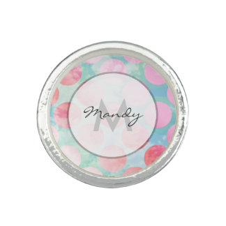 Blue Sky Clouds Pink Dots Photo Rings