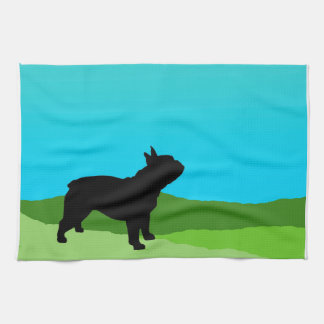 Blue Sky French Bulldog Tea Towel