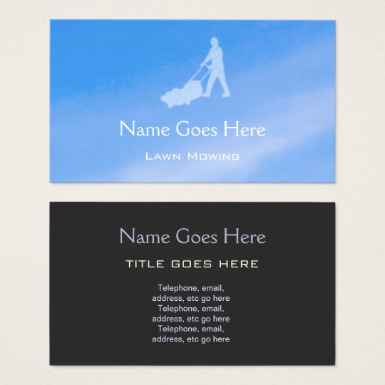 """Blue Sky"" Lawn Mowing Business Cards"