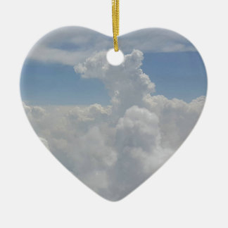 Blue Sky Nature White Puffy Cloud Formations Ceramic Heart Decoration