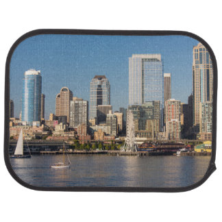 Blue sky over the Elliott Bay waterfront Car Mat