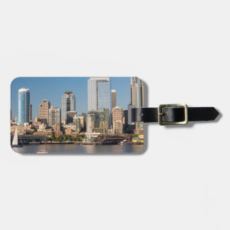 Blue sky over the Elliott Bay waterfront Luggage Tag