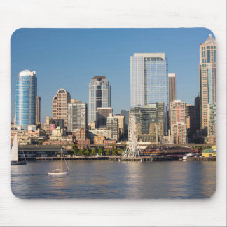 Blue sky over the Elliott Bay waterfront Mouse Mat