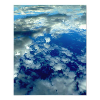 BLUE SKY PUFFY CLOUDS SPACE PHOTOGRAPHY WALLPAPERS 11.5 CM X 14 CM FLYER