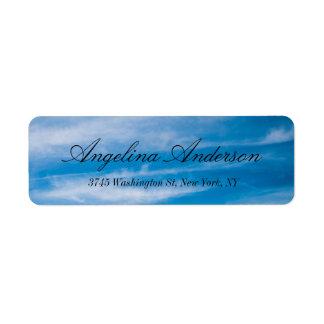Blue Sky Stylish Elegant Handwriting Modern Return Address Label