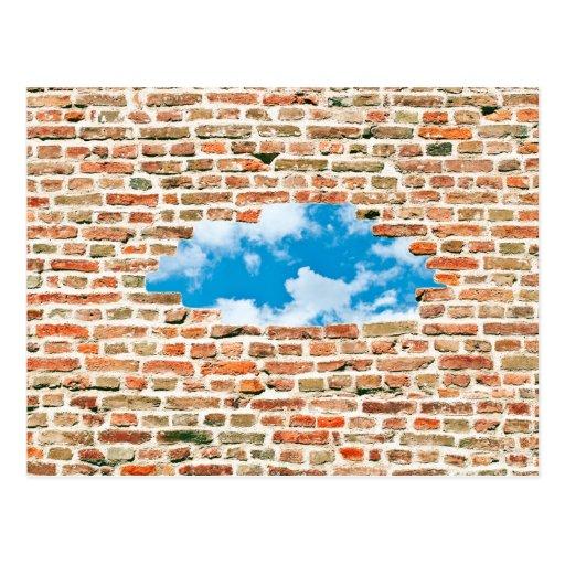 Blue Sky Through Brick Wall Postcard
