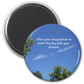 Blue Sky Tree Tops Inspirational Quote 6 Cm Round Magnet