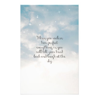"""Blue Sky """"When You Realize"""" Inspirational Quote Stationery Paper"""