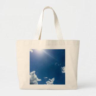 Blue Sky White Clouds Background Cloudy Skies Jumbo Tote Bag