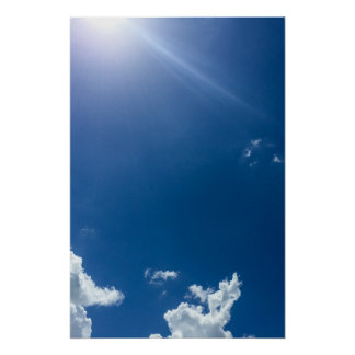 Blue Sky White Clouds Background Cloudy Skies Poster