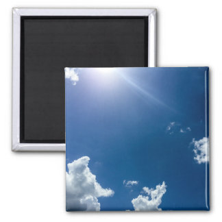 Blue Sky White Clouds Background Cloudy Skies Square Magnet
