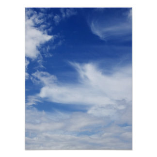 Blue Sky White Clouds Background - Customized Poster