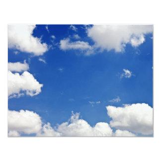 Blue Sky White Clouds Heaven Template 11 Cm X 14 Cm Invitation Card