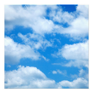 Blue Sky White Clouds Heavenly Skies Background 13 Cm X 13 Cm Square Invitation Card