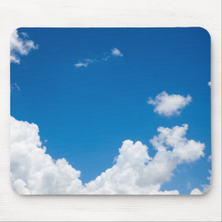 Blue Sky White Clouds Heavenly Skies Background Mouse Mat