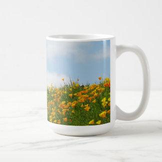 Blue Sky White Clouds Poppy Flower Meadow Mug