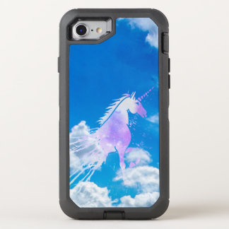 Blue sky white dream clouds magical pink unicorn OtterBox defender iPhone 8/7 case