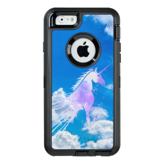 Blue sky white dream clouds magical pink unicorn OtterBox defender iPhone case