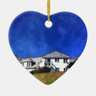 Blue Sky, White Houses Ceramic Heart Decoration