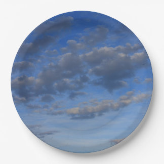 BLUE SKY WITH CLOUDS PAPER PLATE