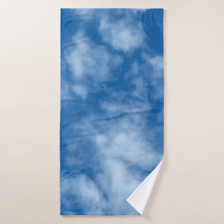 Blue Sky with Clouds Photo Bath Towel