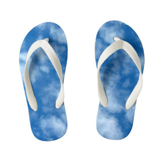 Blue Sky with Clouds Photo Kid's Flip Flops