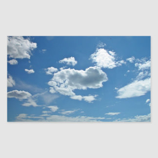 Blue sky with scattered clouds rectangle sticker