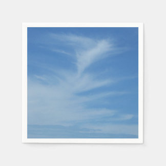 Blue Sky with White Clouds Abstract Nature Photo Paper Napkin
