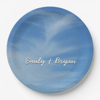 Blue Sky with White Clouds Abstract Nature Photo Paper Plate
